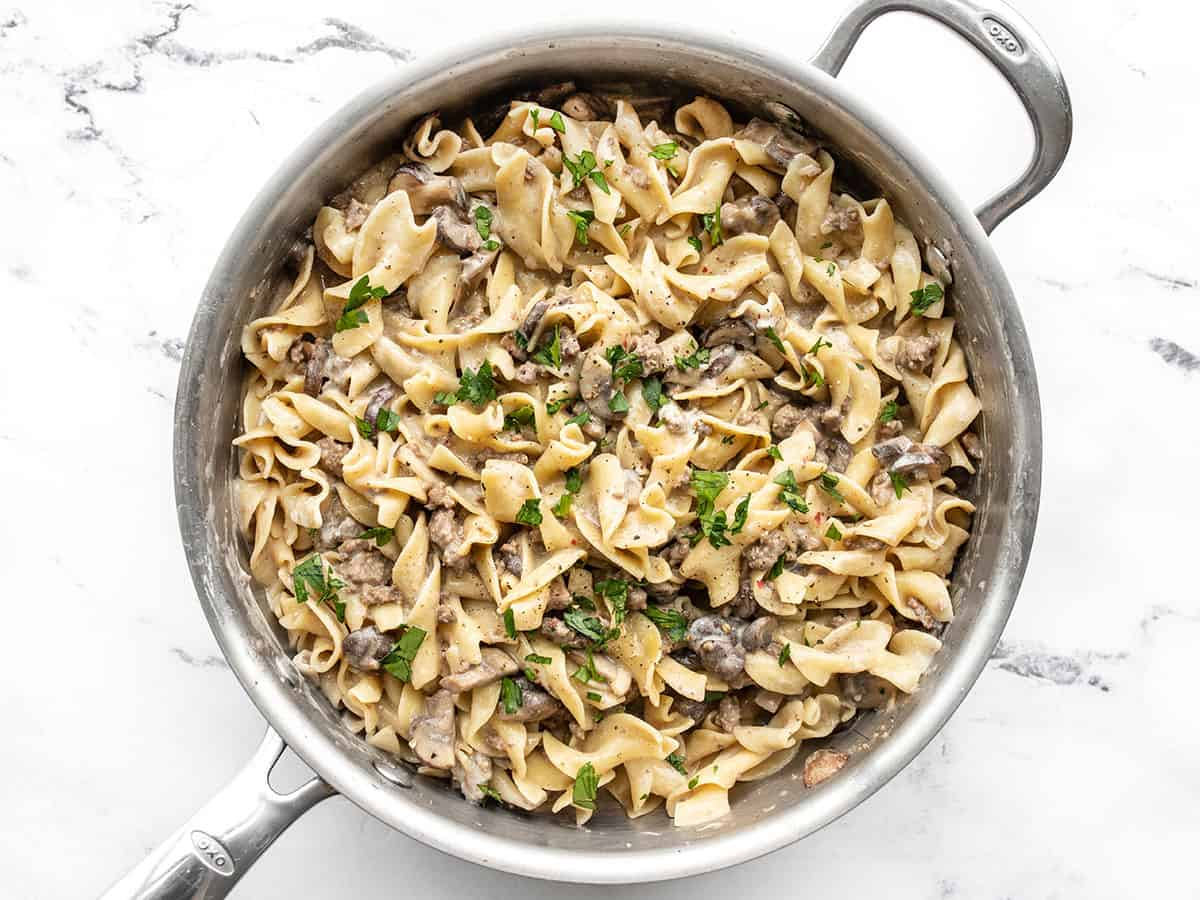 Finished one pot beef and mushroom stroganoff topped with parsley