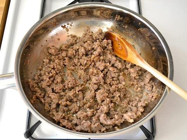 Browning Sausage in skillet