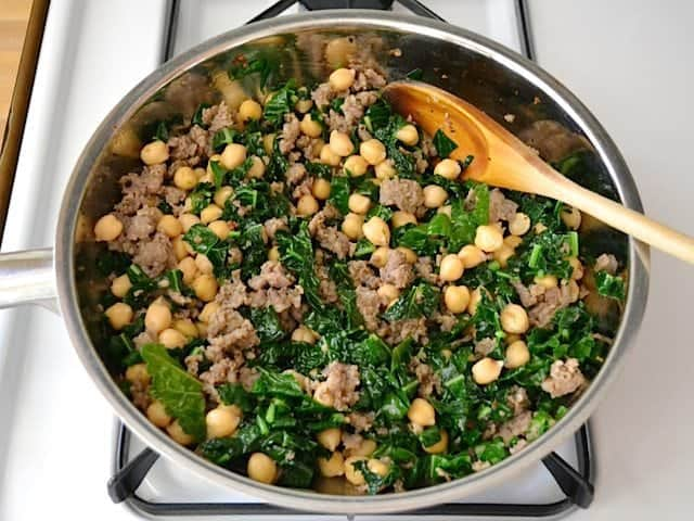 Chickpeas added to skillet