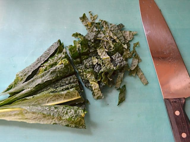 Chopping Kale with knife