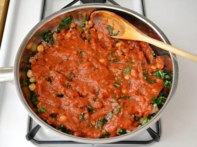 Marinara sauce added to skillet