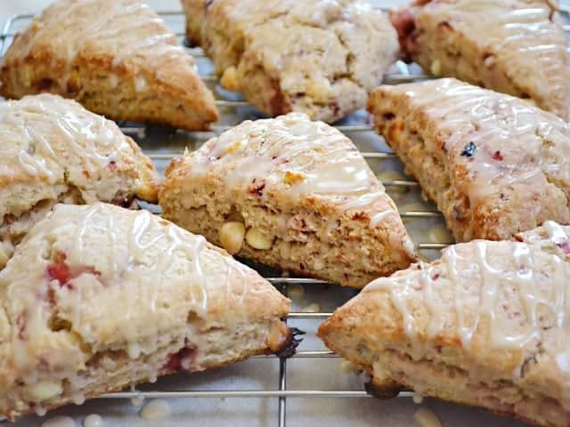 Strawberry White Chocolate Scones glazed