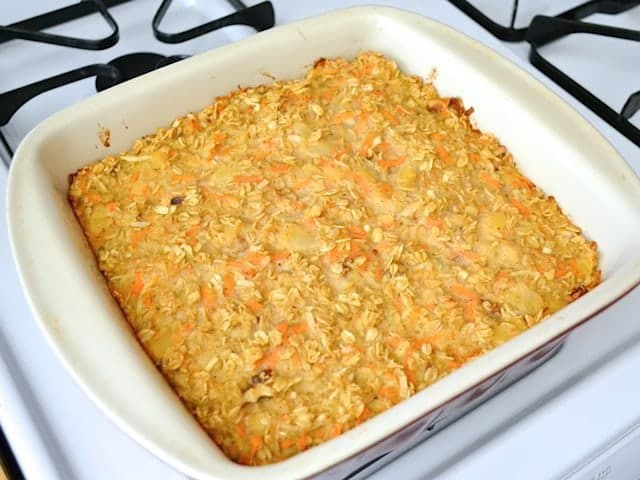 Baked Oatmeal in casserole dish on stove top