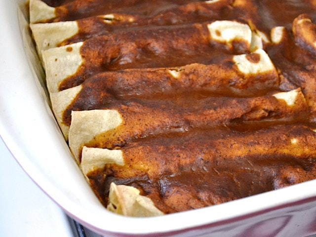 Baked Enchiladas in casserole dish