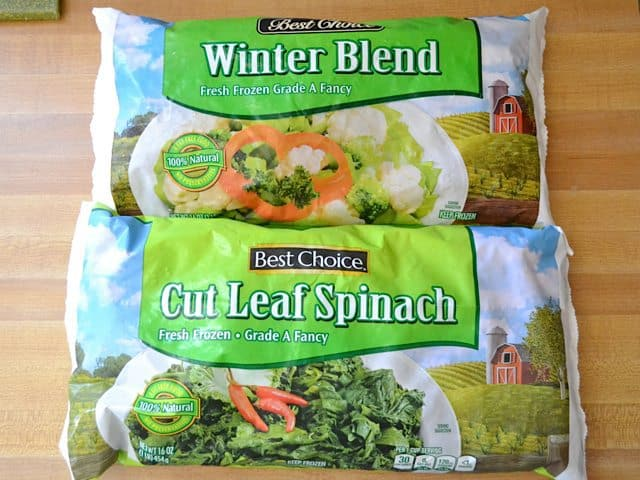 Package of Frozen Vegetables and package of frozen spinach