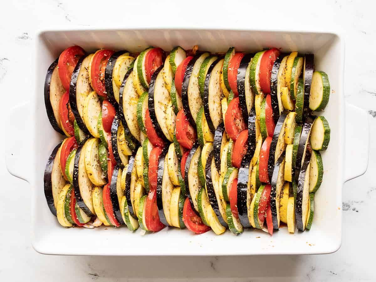 Layered vegetables in the casserole dish