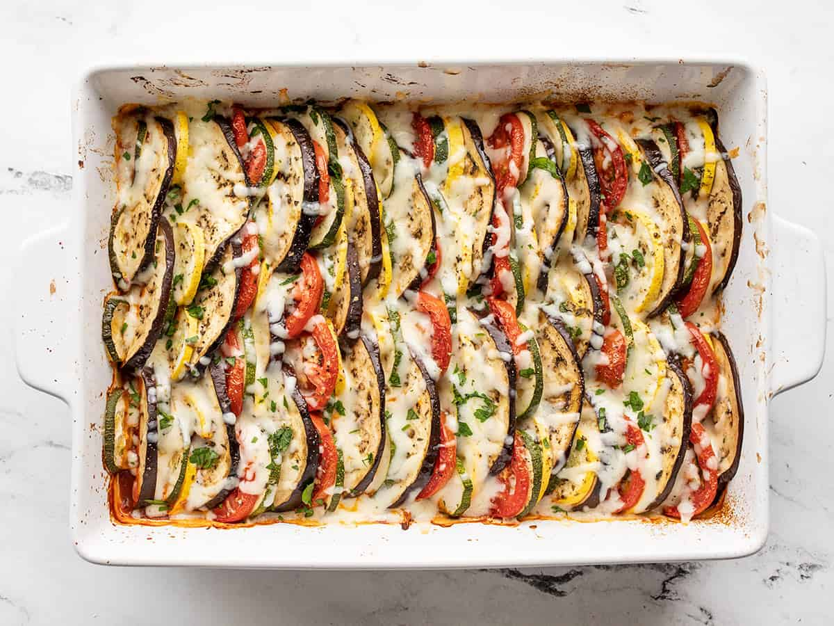 Melted cheese on oven roasted ratatouille