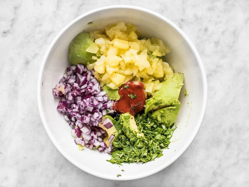 Best Ever Avocado Dip Ingredients chopped and put in mixing bowl