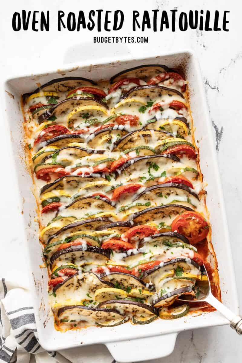 Ratatouille in a white rectangular casserole dish, title text at the top