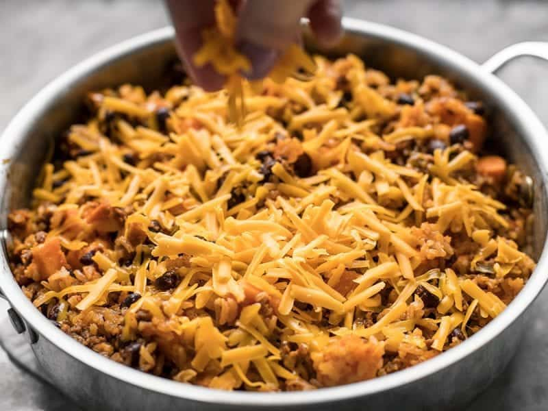 Add Cheese to Chorizo Sweet Potato Skillet