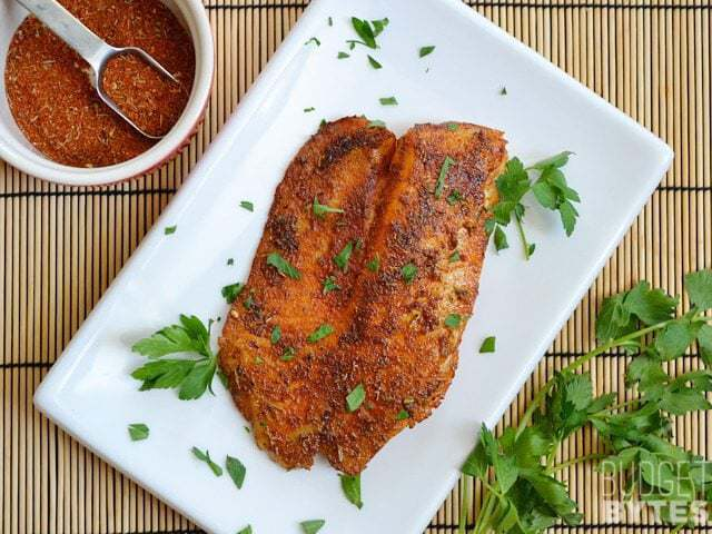 Top view of a plate of Blackened Tilapia garnished with parsley, a bowl of seasoning on the side
