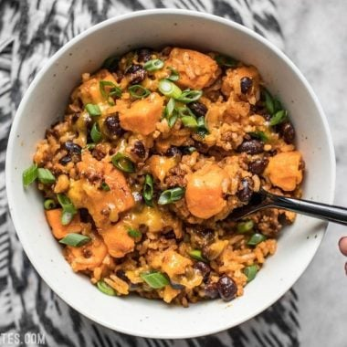 It only takes one skillet and a few ingredients to make this incredibly flavorful and filling Chorizo Sweet Potato Skillet. BudgetBytes.com