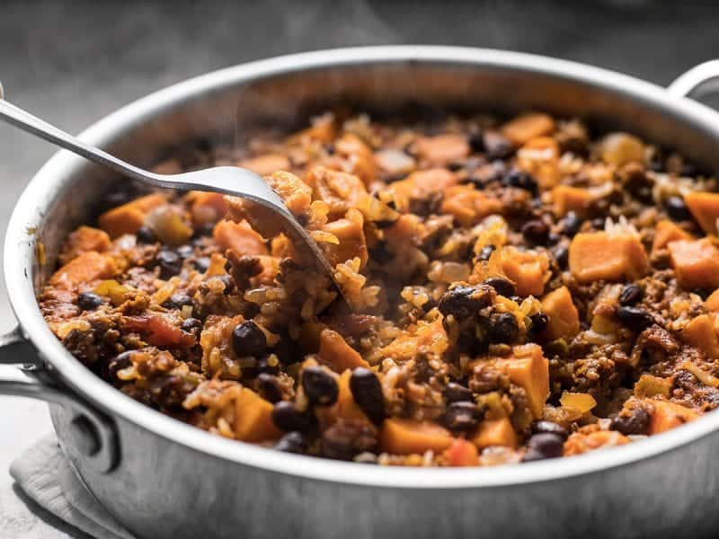 Fluff Chorizo Sweet Potato Skillet