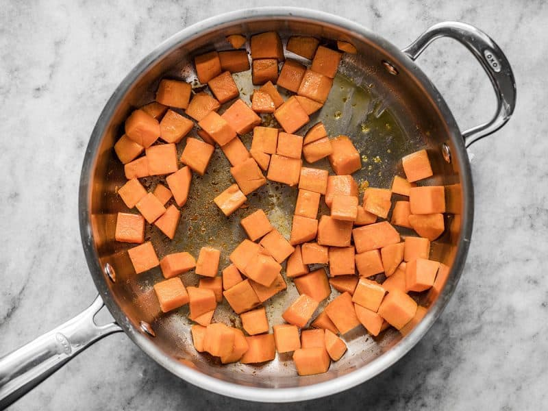 Sautéed Sweet Potato in skillet