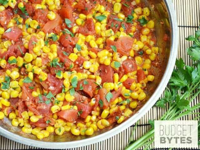 Top view of Sautéed Corn and Tomatoes in skillet