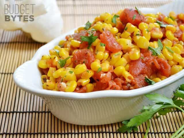 Close up of a dish of Sautéed Corn and Tomatoes