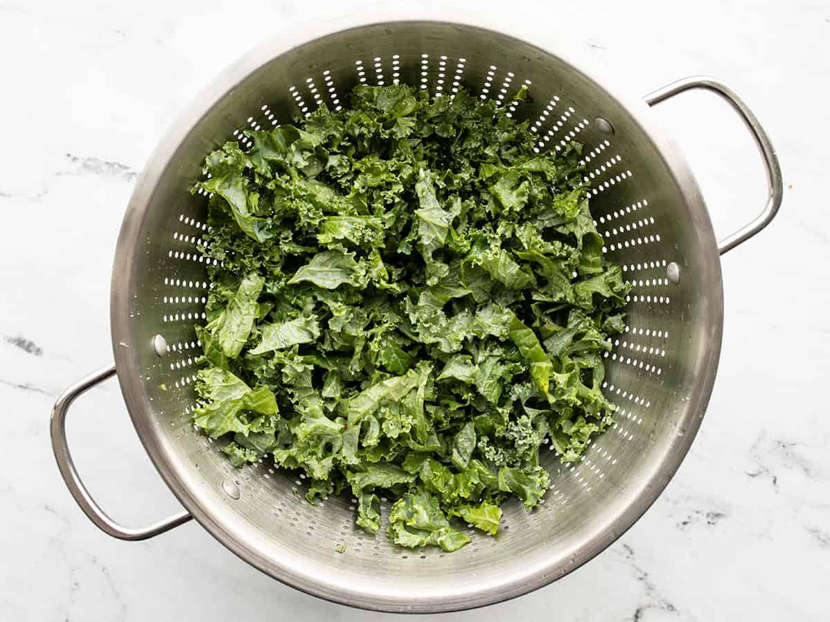 Washed kale in a colander