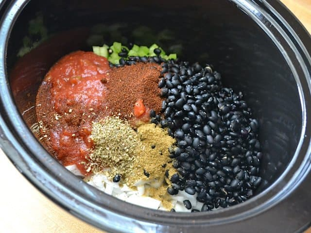 Black Bean Soup Ingredients in slow cooker