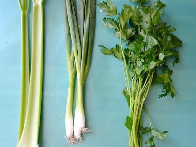 Celery, green onion and parsley