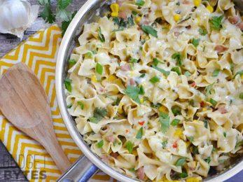 Creamy Vegetarian Enchilada Pasta - BudgetBytes.com