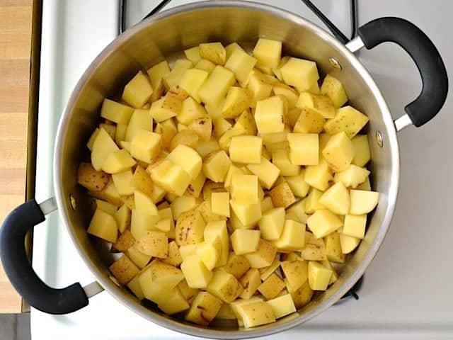 Cubed Potatoes in pot