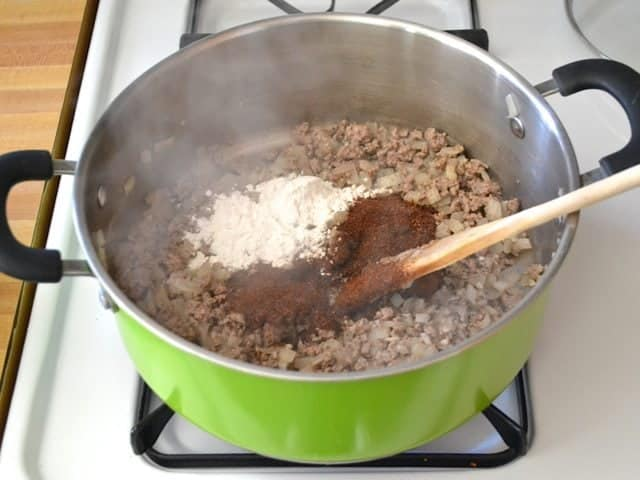 Browned Ground Beef with spices and flour