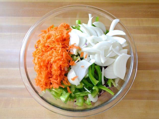 Chopped Stir Fry Vegetables in bowl
