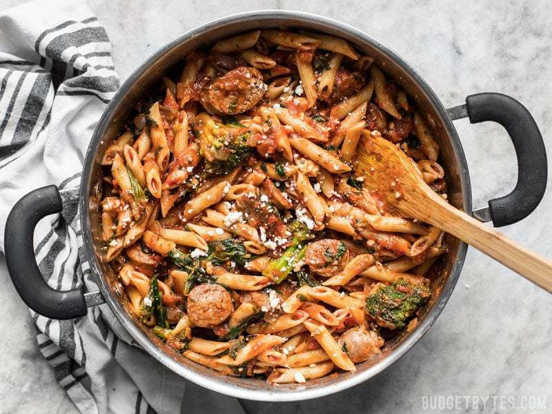 Finished pot of Penne Pasta with Sausage and Greens