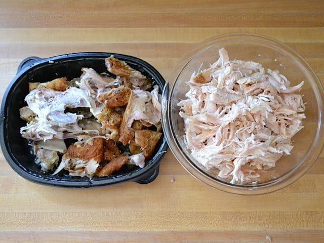 Pre cooked chicken pulled off the bone and shredded and placed in bowl
