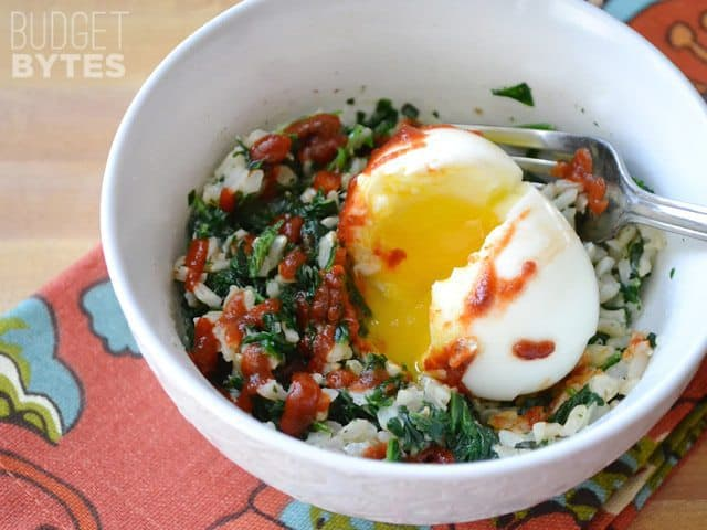 Top view of a Spinach Rice Breakfast Bowl