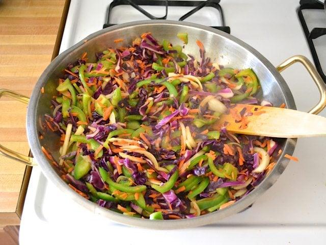 Stir Fry Vegetables in skillet cooking on stove top