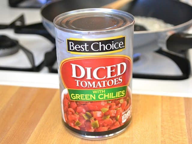 Can of diced tomatoes with green chiles
