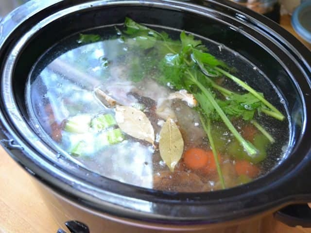 Water added to ingredients in slow cooker