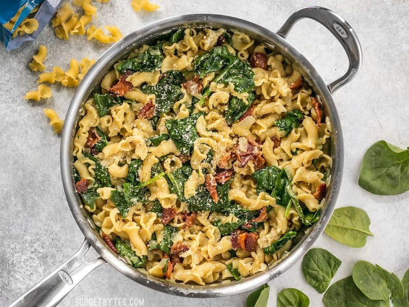 Bacon And Spinach Pasta With Parmesan Budget Bytes