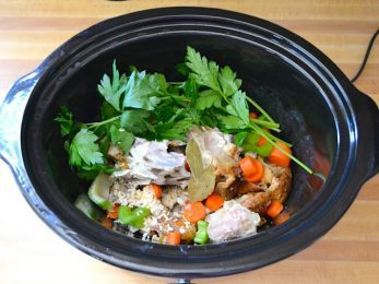 Chicken Broth Ingredients in Slow Cooker