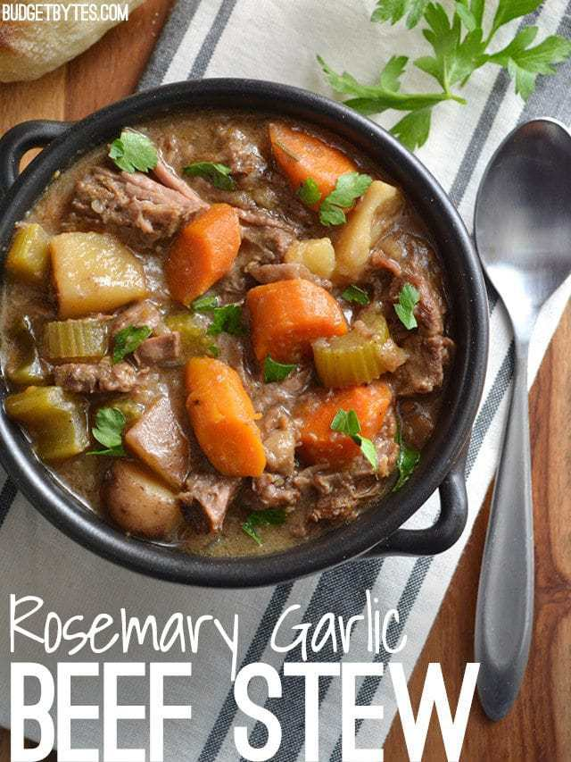 Use your slow cooker to make an intensely flavored Rosemary Garlic Beef Stew with fork tender bits of beef and colorful vegetables. BudgetBytes.com