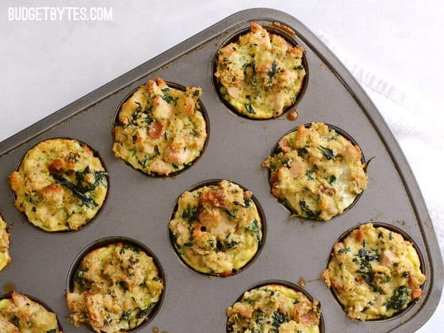 Top view of cooked Leftover Stuffin Muffins in muffin tin