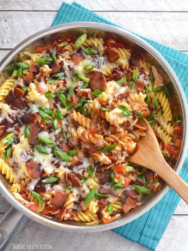 Smoky BBQ sauce, salty bacon, and creamy Monterey Jack cheese come together in this quick, one-dish Monterey Chicken Skillet. Budgetbytes.com