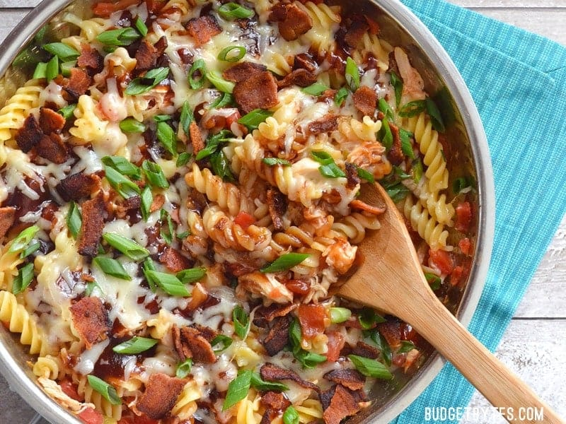 Smoky BBQ sauce, salty bacon, and creamy Monterey Jack cheese come together in this quick, one-dish Monterey Chicken Skillet.