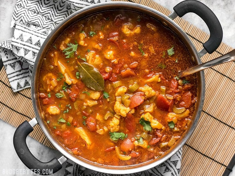 Warm intoxicating spices make this vegetable filled Moroccan Lentil and Vegetable Stew perfect for cold Autumn nights. BudgetBytes.com