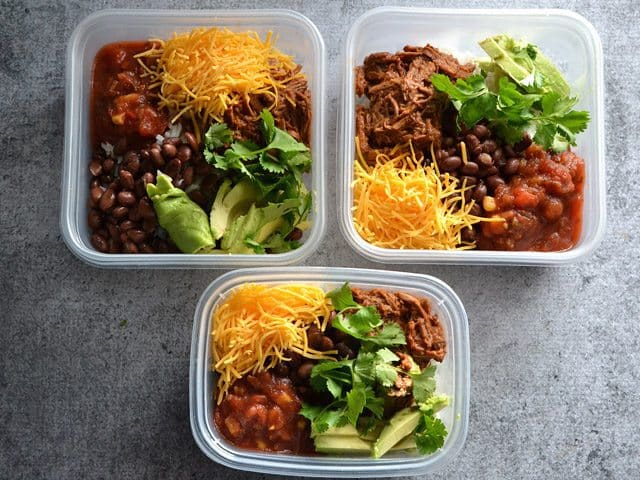 Beef Burrito Bowl Portioned into Tupperware to save for later