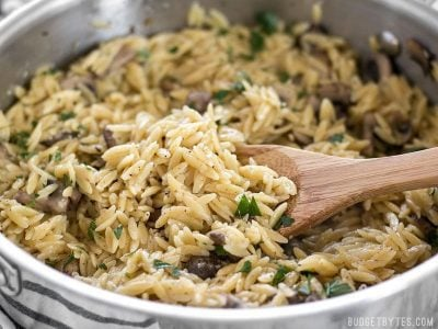 This super simple and flavorful Parmesan Portobello Orzo will become your next go-to side dish. Ready in 30 minutes, it pairs with chicken, beef, or pork. BudgetBytes.com