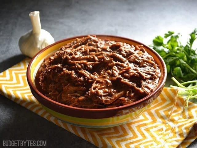 Side view of a bowl of Saucy Southwest Shredded Beef  sitting on a yellow chevron napkin with a clove of garlic and cilantro on the side