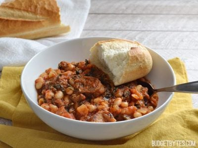 White Beans with Tomato and Sausage front - Budget Bytes