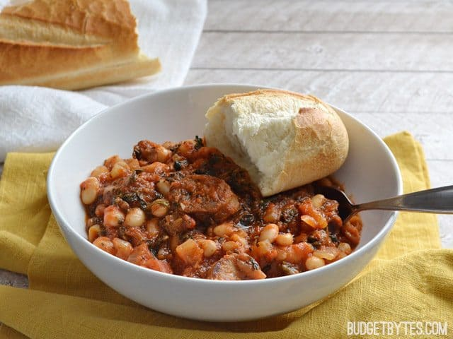 White Beans with Tomato and Sausage - BudgetBytes.com