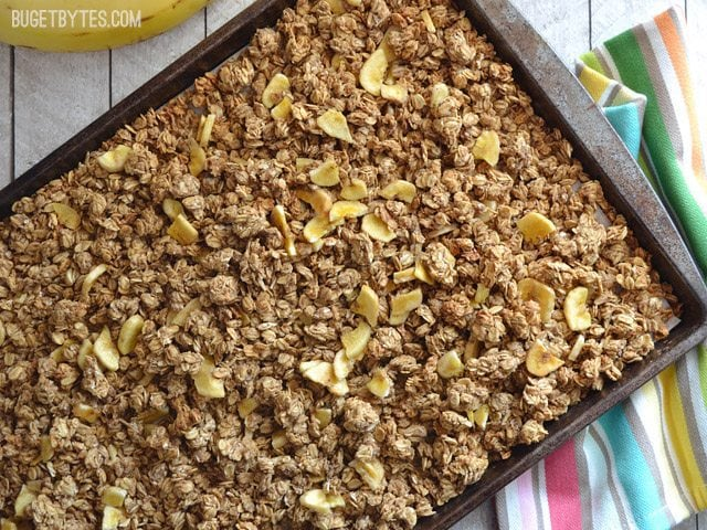 Banana Nut Granola on baking sheet cooling