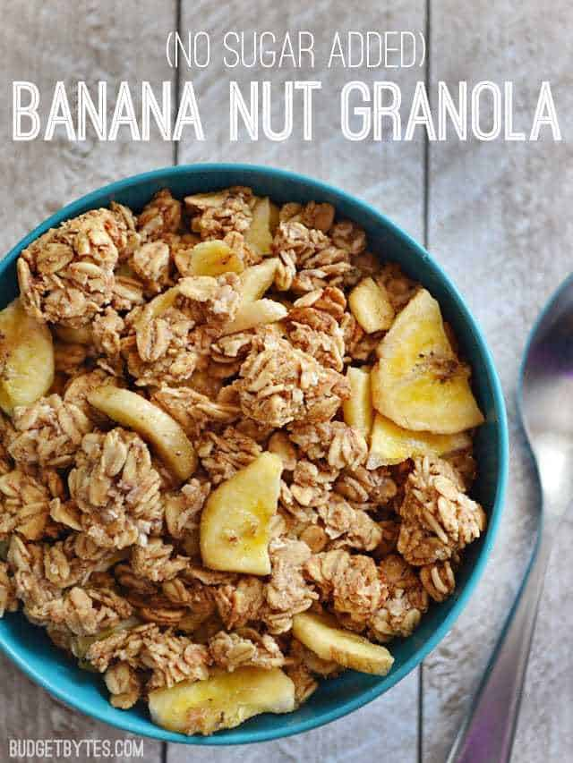 Top view of a bowl of Banana Nut Granola