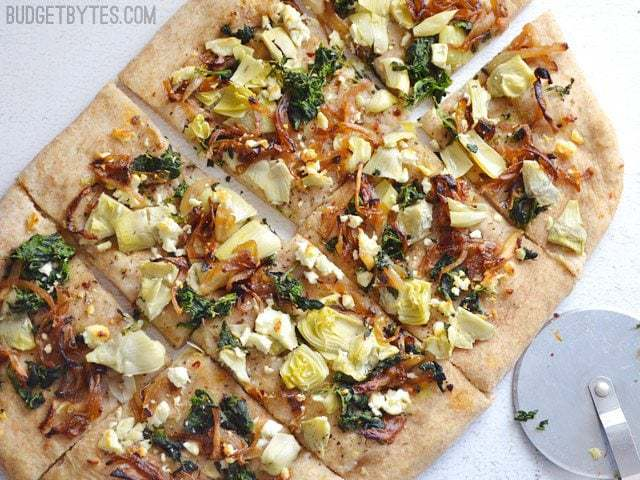 Caramelized Onion and Artichoke FlatBread - BudgetBytes.com