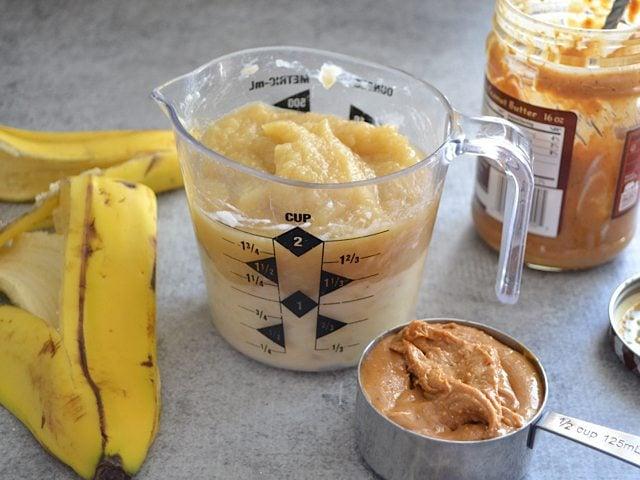 Mashed Bananas Apple Sauce PB