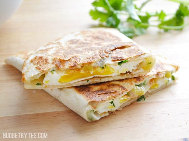 Green Chile Breakfast Quesadillas - BudgetBytes.com